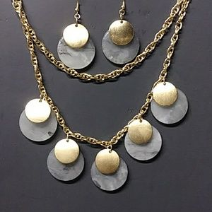 Gold & Stone Necklace and Earring Set